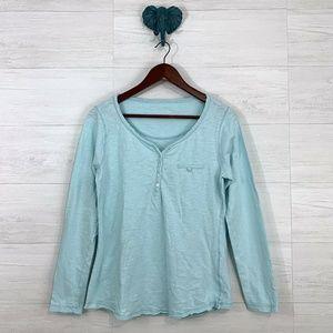 Soft Surroundings Baby Sky Blue Slub Knit Top
